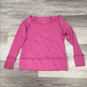 Pink scoop neck work out sweater